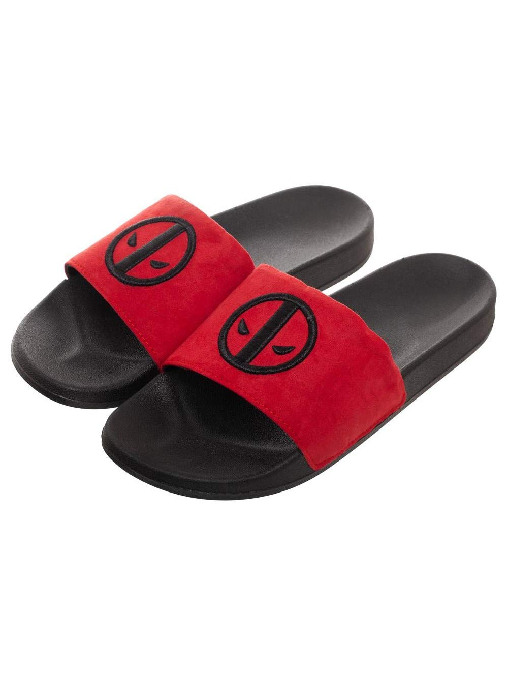 Marvel Deadpool Black Insignia Red Slide Sandals