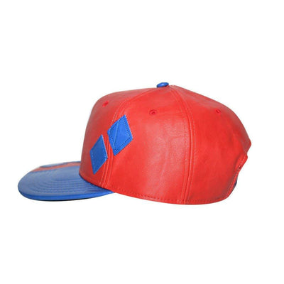 Bioworld Women's Licensed Harley Quinn - Suit PU Leather Snapback Hat O/S Red/Blue