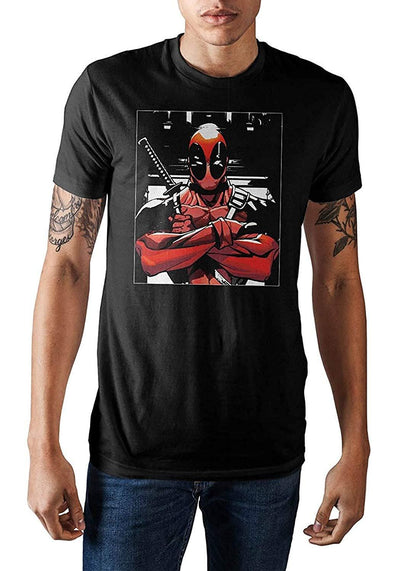 DooD Gear Marvel Deadpool Crossed Arms Square Graphic Tee Men's T-Shirt Bioworld