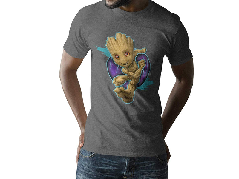 Marvel Running Groot Gaurdians of The Galaxy Grey Tee Bioworld T-Shirt
