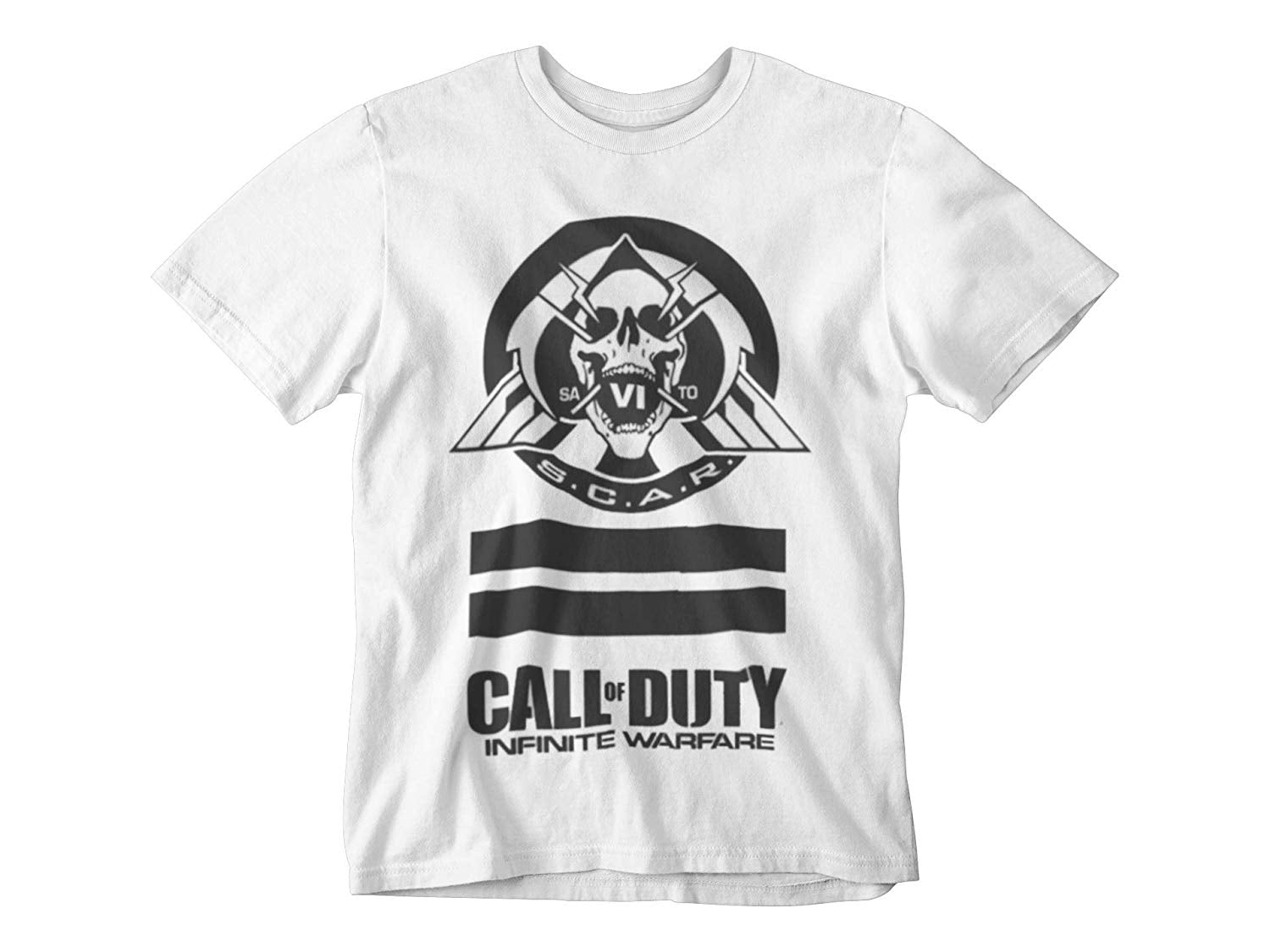 Call of Duty Infinite Warfare - Black Scar Skull Head Crew Tee White