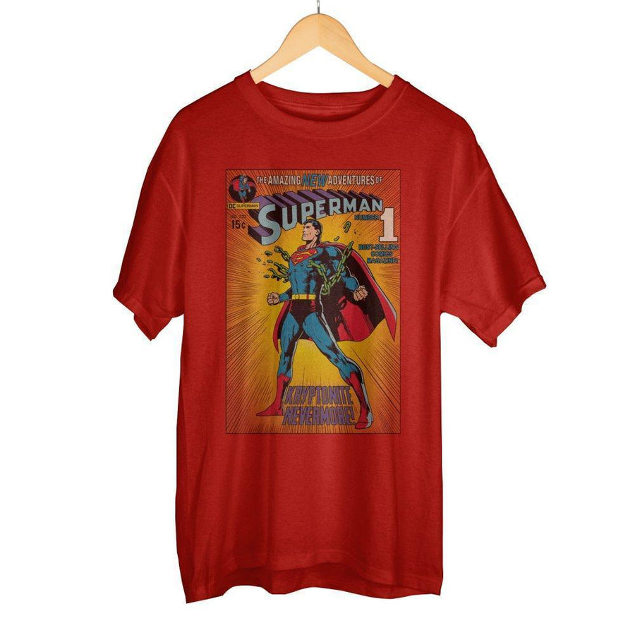 Vintage Superman DC Comic Book Cover Artwork Men's Red Graphic Print Boxed Cotton T-Shirt - Dood Gear