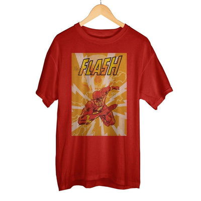 Awesome DC Comics The Flash In Action Men's Bright Red Graphic Print Boxed Cotton T-Shirt - Dood Gear