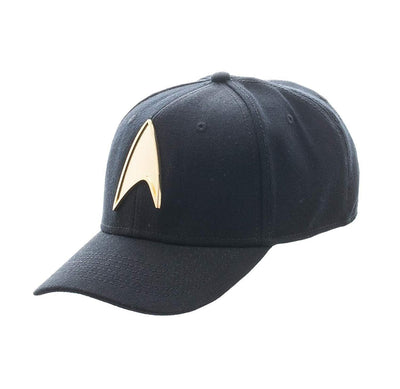 bioworld Men's Star Trek - Metal Logo Skate Flex Stretch Fit Hat O/S Black