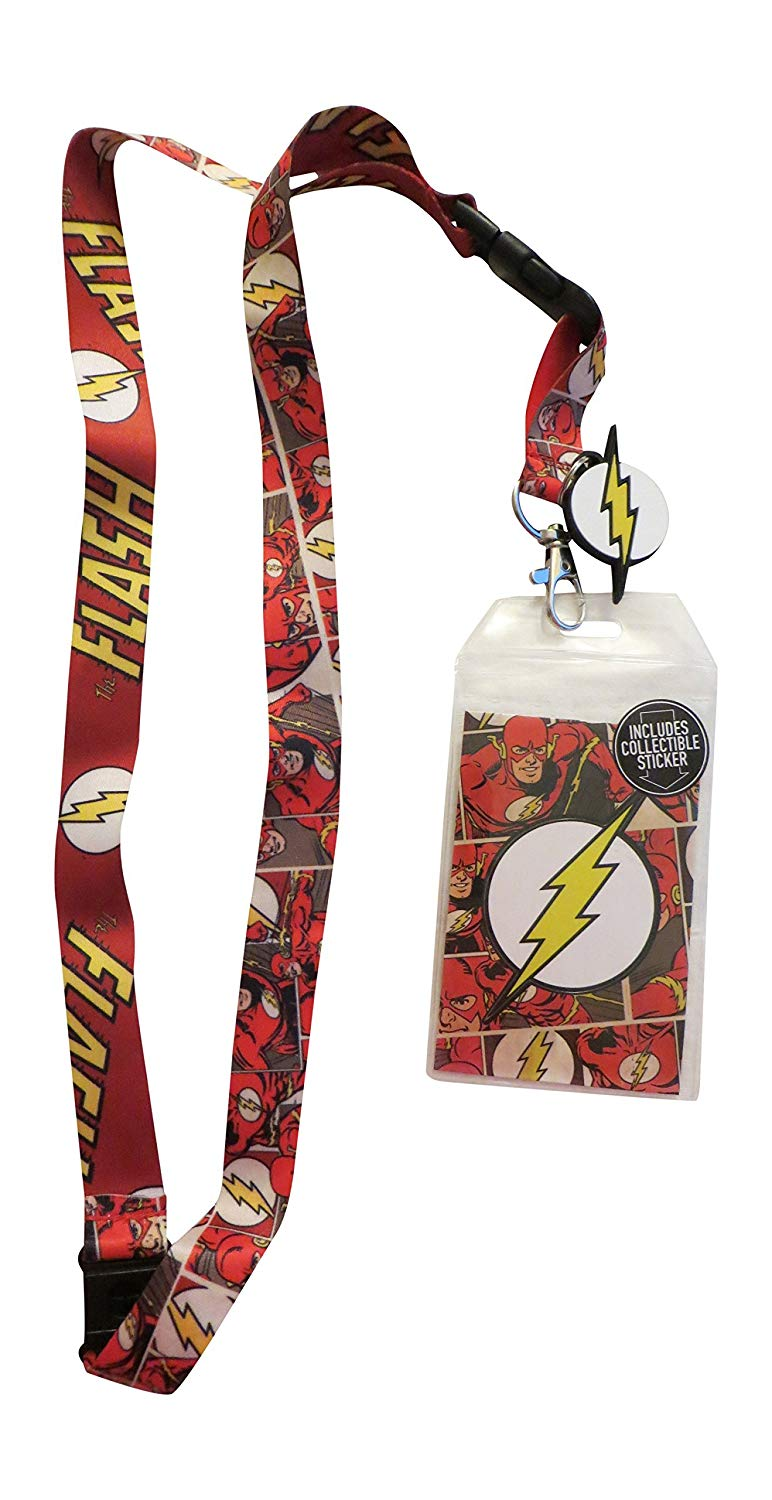 DC Comics - The Flash Lanyard ID Holder Badge And Flash Charm With Collectible Sticker
