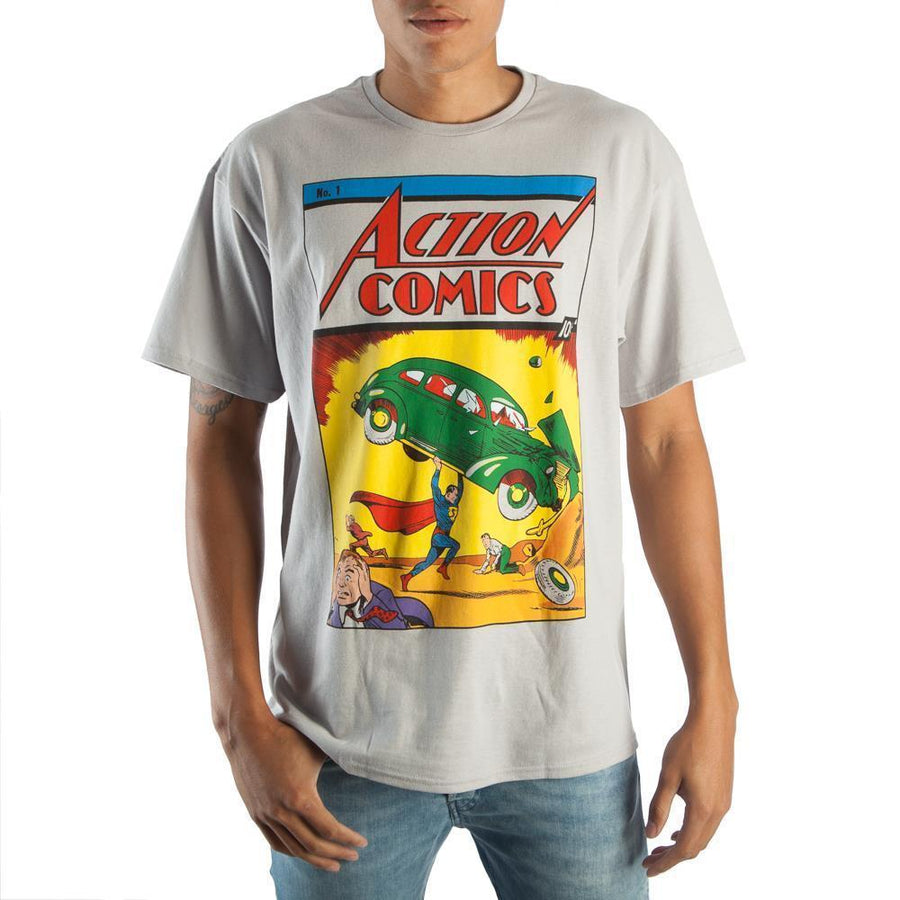 Unique Vintage DC Comics Retro Superman Men's Grey Graphic Print Boxed Cotton T-Shirt - Dood Gear