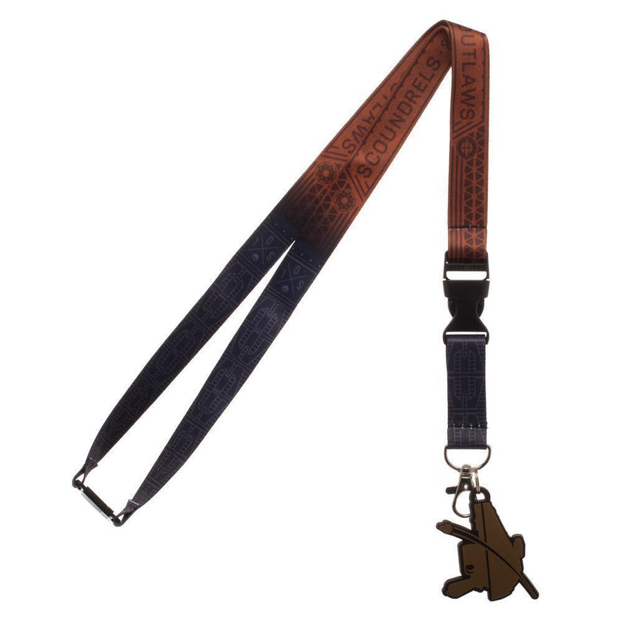 Disney Scoundrels and Outlaws Dual Lanyard, Star Wars Character Styled Key Holder with Rubber Pistol Charm - Dood Gear