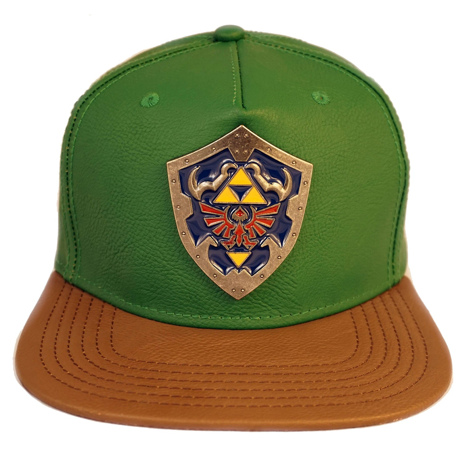 Zelda-Link Suit Up Green Faux Leather Triforce Shield Snapback