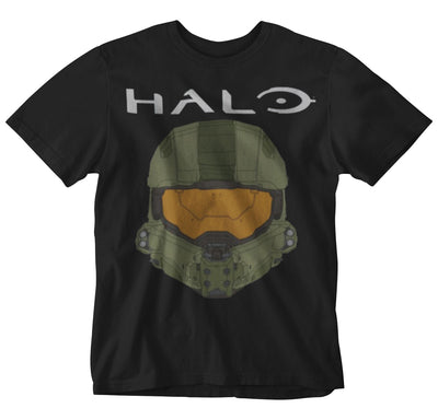 Halo - Mens Helmet & Logo Black Tee T-Shirt