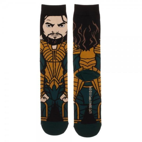Justice League Aquaman 360 Character Crew Socks - Dood Gear