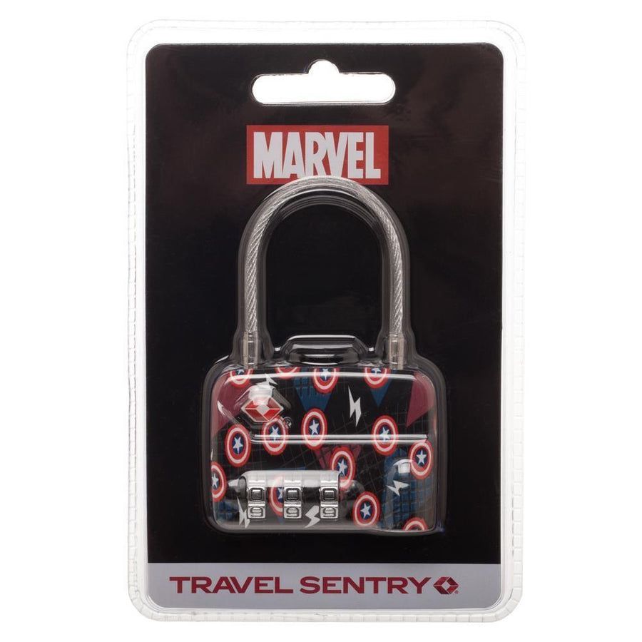Marvel Comics Captain America Logo TSA Approved Travel Combination Cable Luggage Lock for Suitcase Baggage - Dood Gear