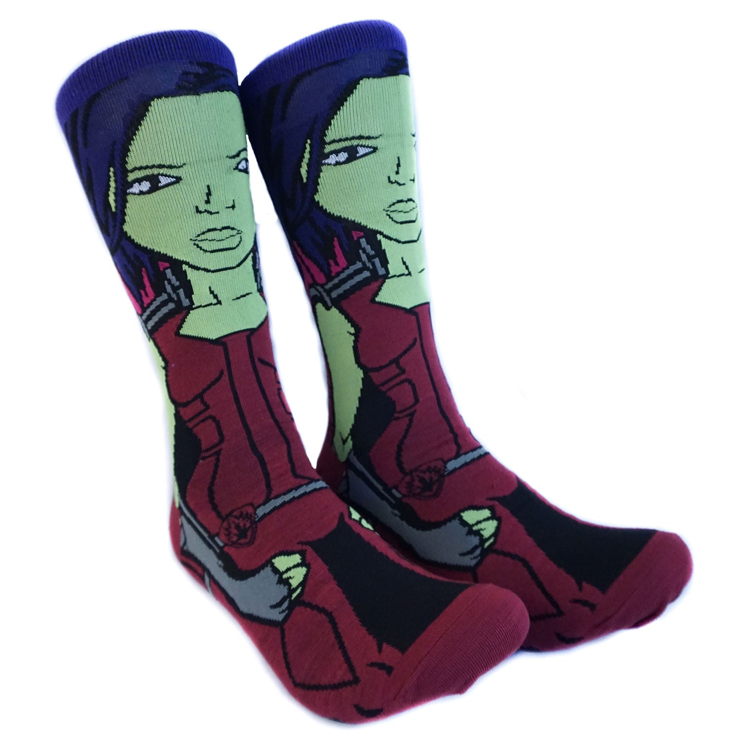 Guardians of the Galaxy Gamora 360 Character Crew Socks