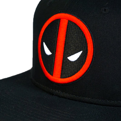 Black Deadpool Insignia Snapback Hat with Red Under Bill