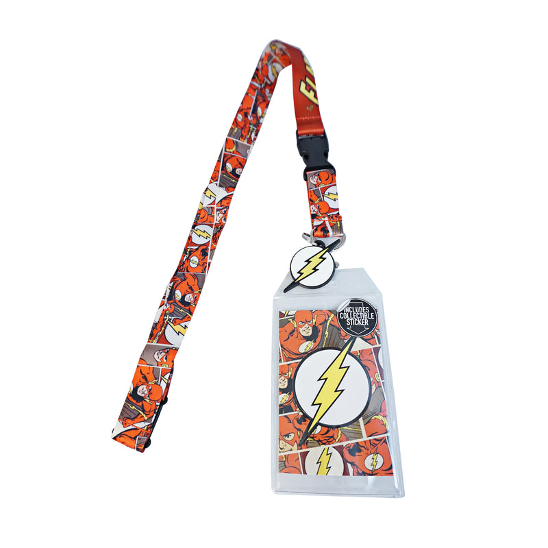 DC COMICS - Flash Comic Lanyard with Charm, ID Badge, and Collectible Sticker