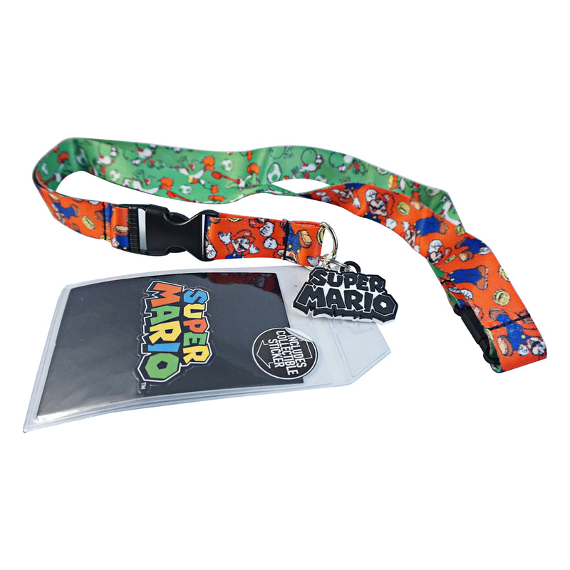 Nintendo - Super Mario Charm Breakaway Lanyard with ID Badge Holder