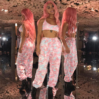 Camouflage Print High Waist Athleisure Pants