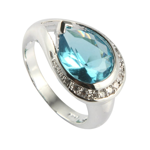 Light Blue Cubic Zircon Rhodium Plated Ring