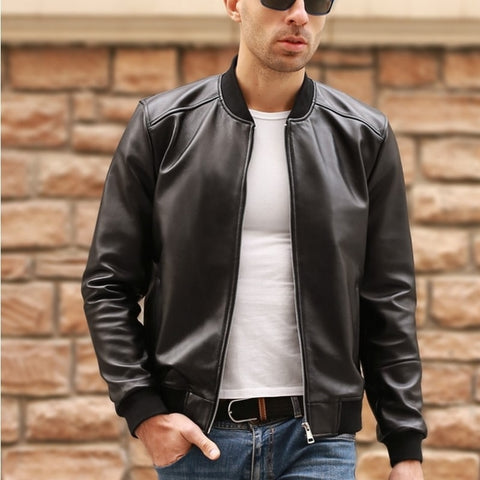 Sheepskin Genuine Leather Bomber Jacket