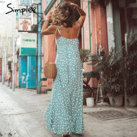 Casual Polka Dot Long Spaghetti Strap Dress