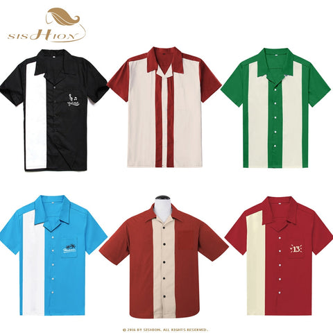 Short Sleeve Cotton Casual Bowling Shirt