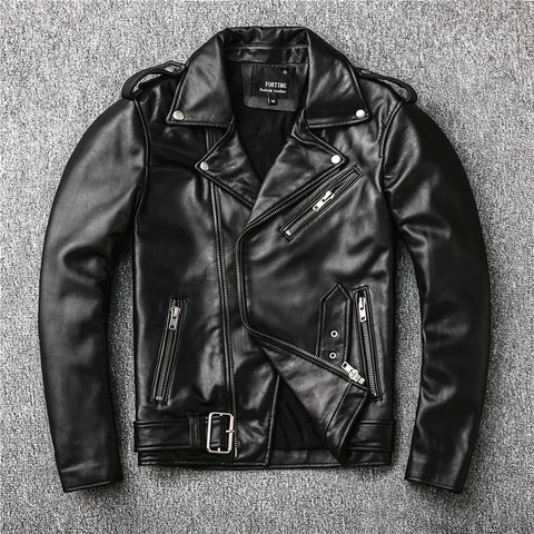 Genuine Leather Waist-Length Zipper Design Jacket