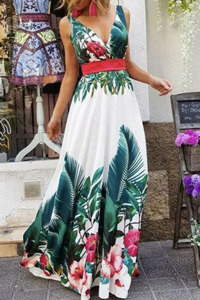 Long Deep V-neck Floral Print Dress