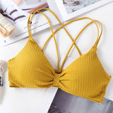Triangle Cup Wireless Backless Push Up Bra