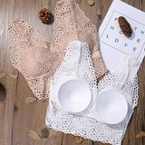 Women Deep V Lace Bralette Seamless Padded Push Up Bra Wire Free Sexy Lingerie Underwear Women Plus Size Bra