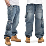 Men's Blue Baggy Cargo Style Hip Hop Designer Loose Fit Plus Size by Lance Donovan