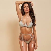 Sparkle Chain Push Up Bra And Panty Set Women Bodycon Intimates Rhinestone Lingerie Set Underwear Bralette Sexy Lace Brief Set