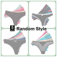 5PC Cotton Printed Thong Set