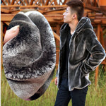 Wool Lined Hooded Fluffy Fur Coat