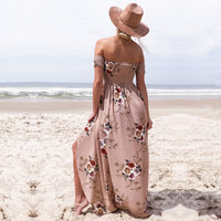 Floral Print Off Shoulder Backless Dress