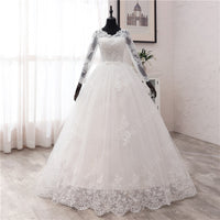 New Spring Lace Appliques Wedding Dresses Long Sleeve Vestidos De Novia 2021 White V-Neck Princess Bride Wedding Gowns Plus Size