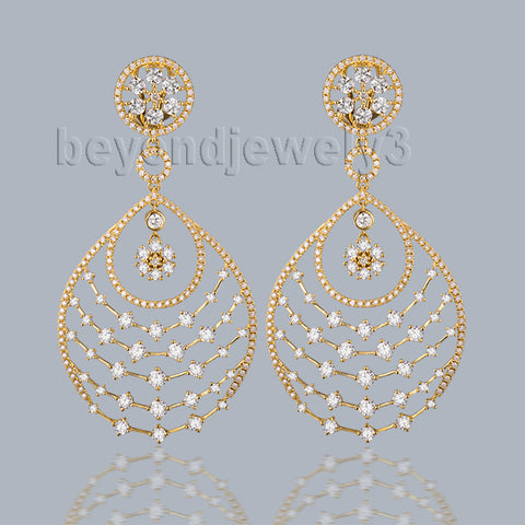 Lanmi Women's Luxury 18k Yellow Gold Diamond Drop Earrings
