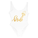Bride Tribe Print One Piece Bathing Suit