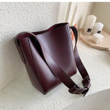 casual wide strap buckets bag designer women shoulder bags luxury pu crossbody bag large capacity messenger bag simply purses