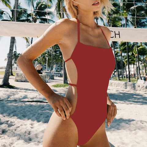 Sexy Knotted One-piece Solid Bikini
