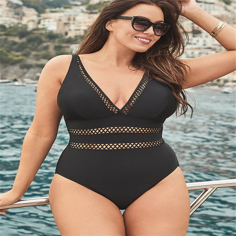 Mesh Insert High Waist One Piece Swim Suit
