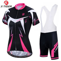 X-Tiger Women's Cycling Jersey Set Summer Anti-UV Cycling Bicycle Clothing Quick-Dry Mountain Female Bike Clothes Cycling Set