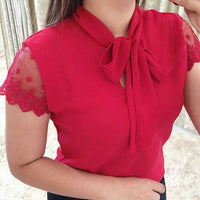 Bow Tie Accented Short Sleeve Blouse