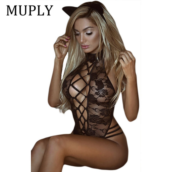 Black One-Piece Sheer Cat Suit Lingerie