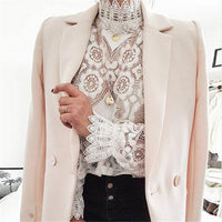 Sheer Elegant Embroidered Long-Sleeve Blouse