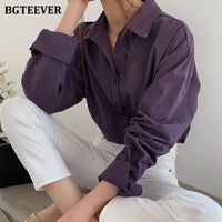 BGTEEVER Vintage Turn-down Collar Women Blouse Shirts Autumn Winter Thicken Female Blouse Tops Workwear Purple Shirts 2020