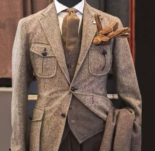 Grey Men's Winter Retro Groom Wear Wedding Suit Business Suit Party Suit Herringbone Pattern Tweed 3Pieces(Jacket+Pants+Vest)