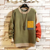 2020 New Sweaters Men'S Black Patchwork Long Sleeves Autumn Winter Pullover Knitted O-Neck Plus OverSize 5XL