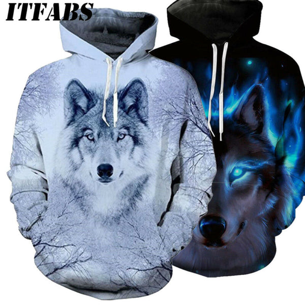 Autumn Winter Women Men Animal Graphic 3D Wolf Print Hoodie Sweater Sweatshirt 2020 Fahsion Long Sleeve Pullover Tops