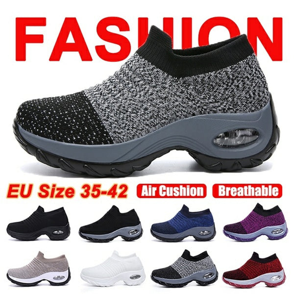 Fashion Women Lightweight Sneakers Running Shoes Outdoor Sports Shoes Breathable Mesh Comfort Platform Shoes Air Cushion Sneaker