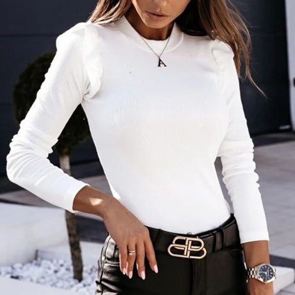 Fashion Autumn Butterfly Long Sleeve Shirt Blouse Elegant O Neck Slim Rib Pullover Tops Winter Casual Women Ruffle Shirts Blusa