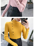 2020 Women Autumn Knitted Slim Sweaters Solid Knitted Female Cotton Soft Elastic Color Pullovers Button Full Sleeve Turtleneck